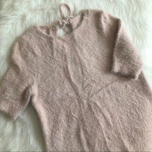 NWOT [loft] pink shirt sleeve eyelash sweater